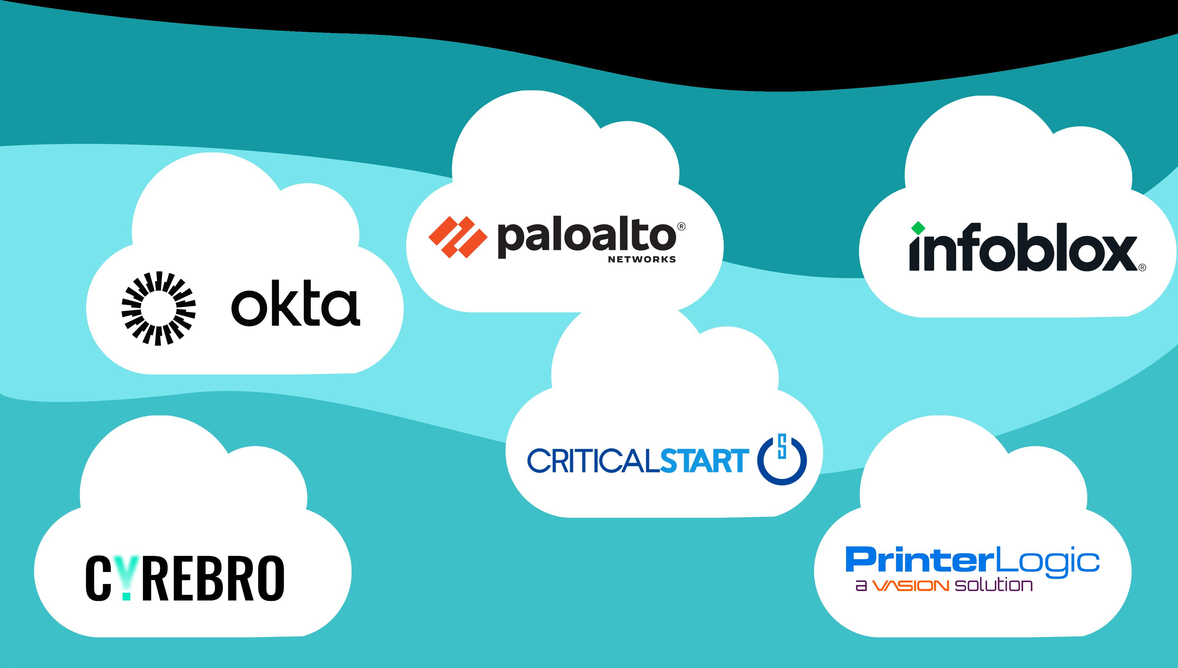 Cloud Harmonics vendors: Palo Alto, Okta, Critical Start, Infoblox, Printer Logic, and Cyrebro